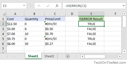 MS Excel: How to use the ISERROR Function (WS, VBA)